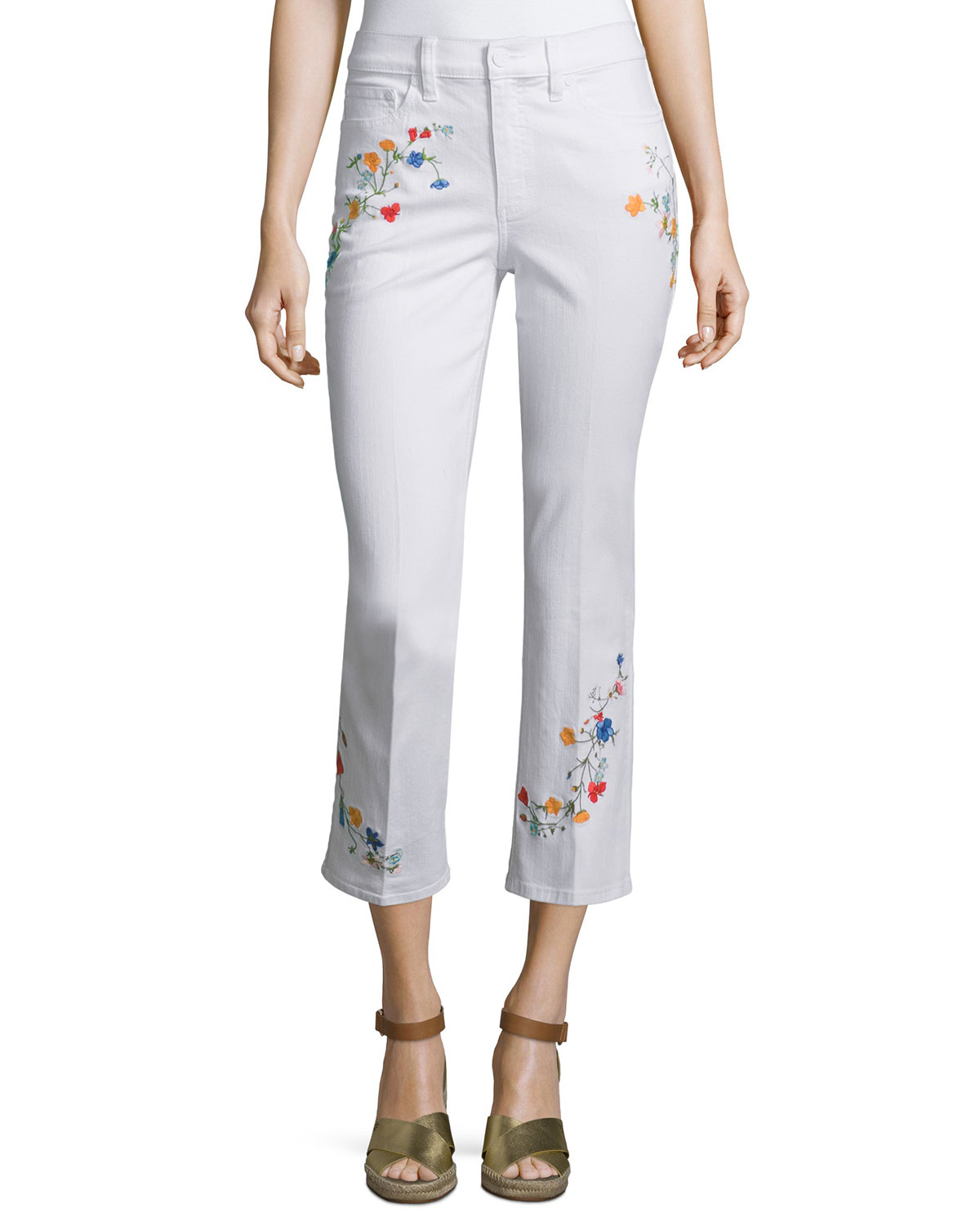 Carson Floral-Embroidered Cropped Jeans
