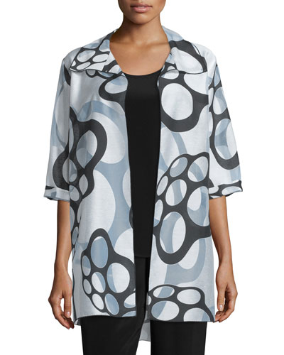 Floating Bubbles Open-Front Jacket, White/Black, Plus Size