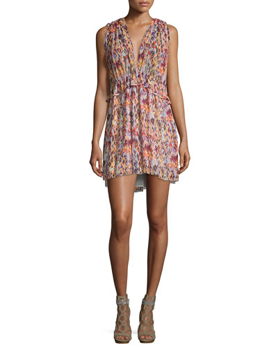 Plum Sleeveless Printed Mini Dress, Orange