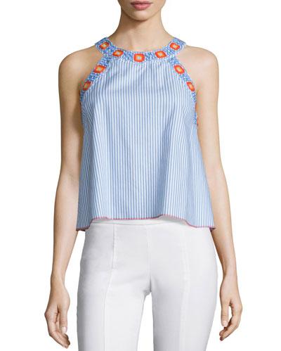 Meg Embroidered-Trim Crop Top, Blue Dusk/White