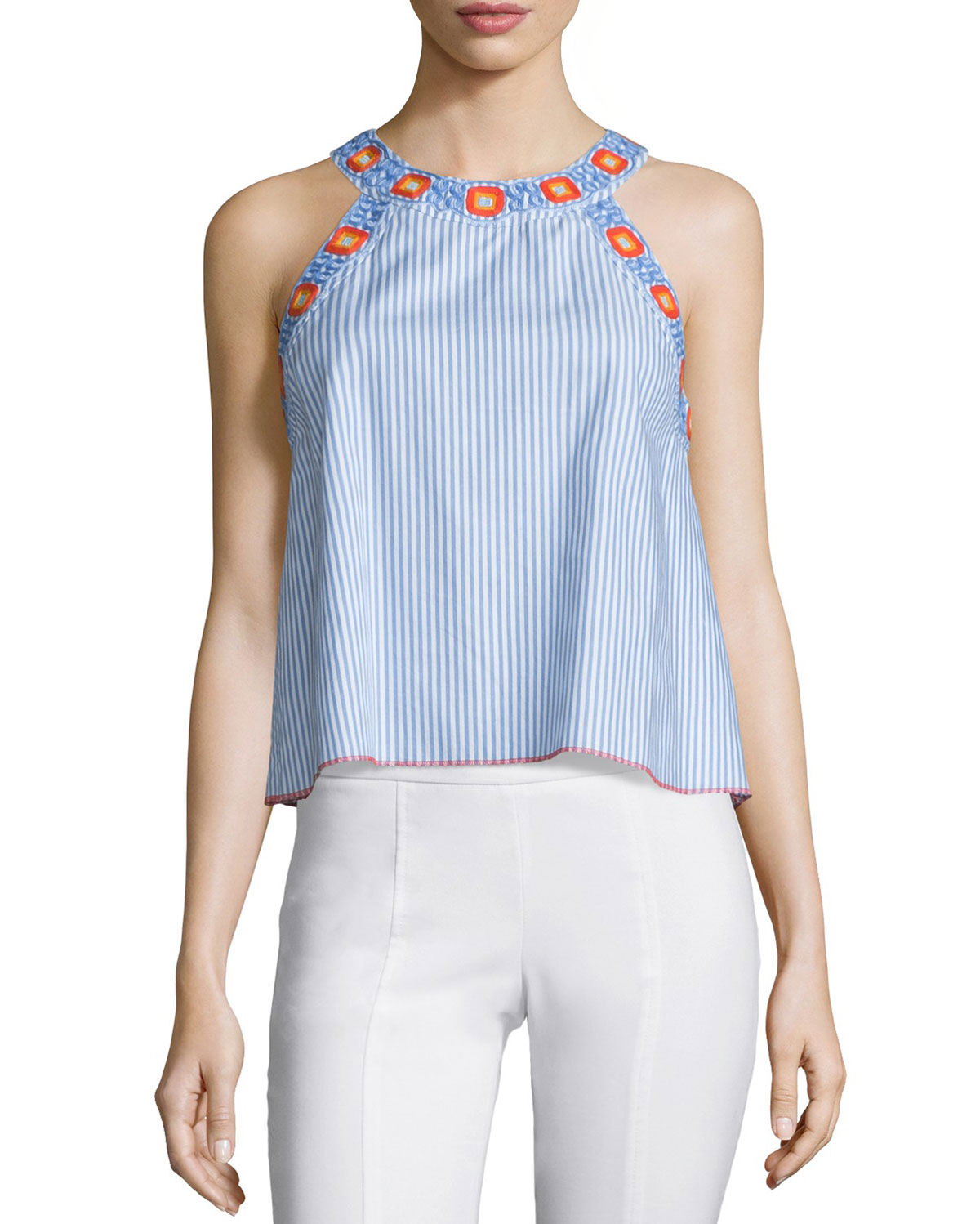 Meg Embroidered-Trim Crop Top, Blue Dusk/White