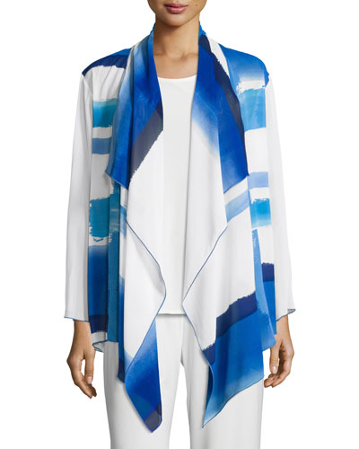Brushstroke Blues Waterfall Jacket, Blue/White, Plus Size