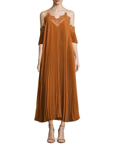Pleated Chiffon Lace-Trim Midi Dress, Camel