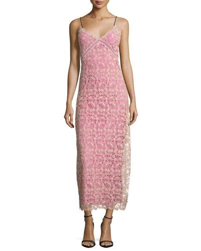 Sleeveless Lace Midi Dress, Nude/Pink