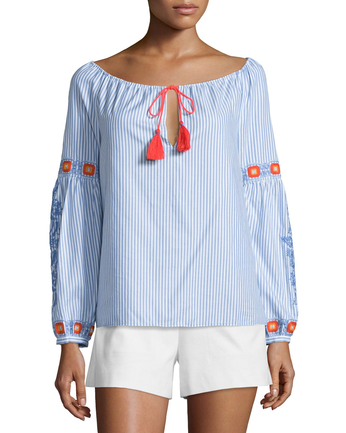 Madison Embellished Peasant Top, Blue Dusk/White
