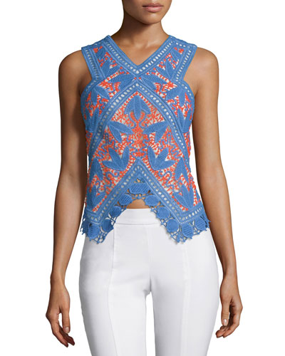 Evie Lace Crochet Top, Hudson Blue/Poppy Red