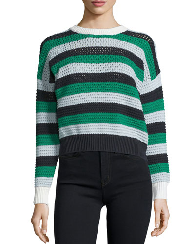 Long-Sleeve Cropped Sweater, Green/Multi