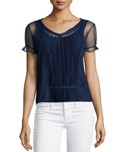 Short-Sleeve Pleated-Front Top, Navy
