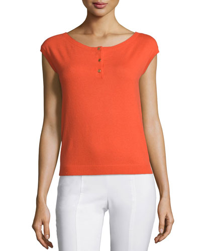 Sydney Button-Front Cashmere Top, Poppy Red