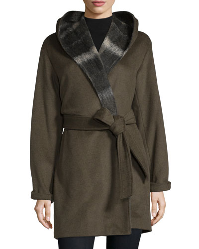 Hooded Long-Sleeve Coat W/Self Belt, Sage