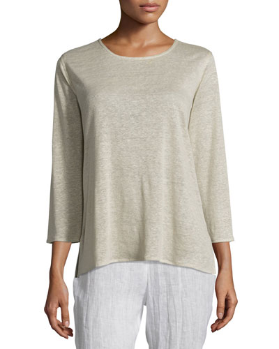 3/4-Sleeve Linen Knit Top, Natural