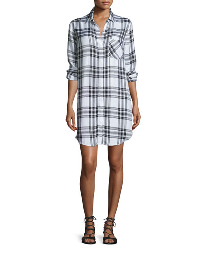 Sawyer Plaid Long-Sleeve Shirtdress, Ebony/White