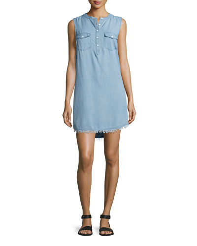 Indigo Crosshatch Sleeveless Shirtdress, Light Wash