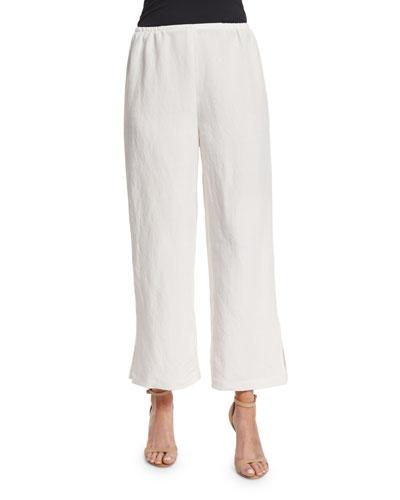Linen-Blend Ankle Pants, Petite