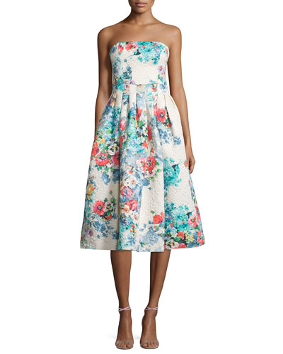 Strapless Floral-Print Tea Dress, Beige