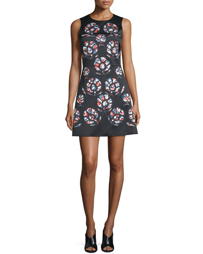 Sleeveless Floral-Print Mini Dress, Black