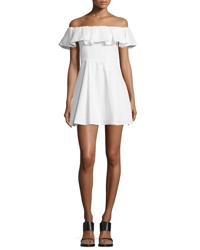 Off-The-Shoulder Mini Dress, White