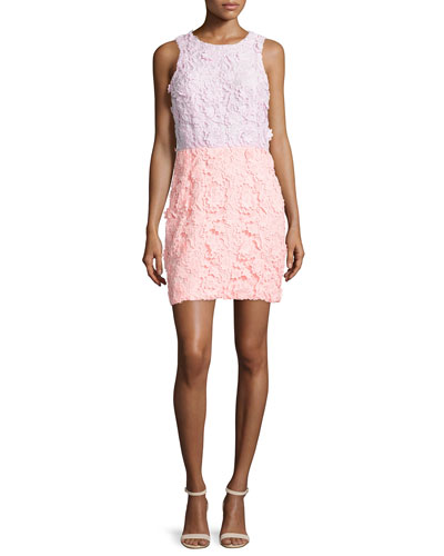 Sleeveless Colorblock Lace Dress, Soft Pink Coral