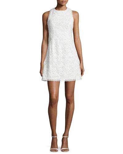 Sleeveless Embroidered Mini Dress, White