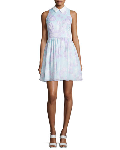 Sleeveless Collared Disco-Floral Dress, Mint/Multi