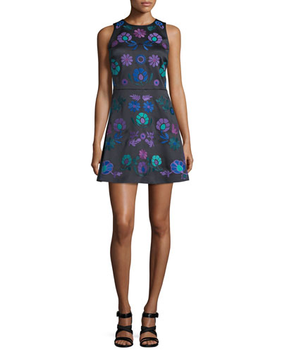 Sleeveless Embroidered Mini Dress, Black