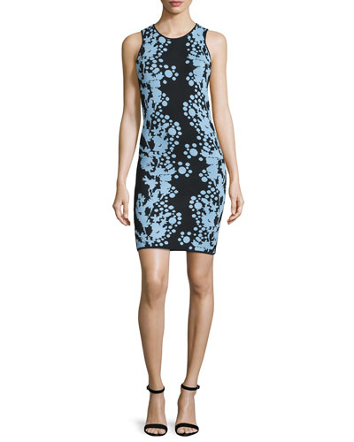 Fully Fashioned Sleeveless Sheath Dress, Black/Sky Blue