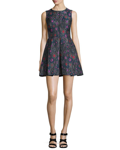 Sleeveless Embroidered Party Dress, Charcoal