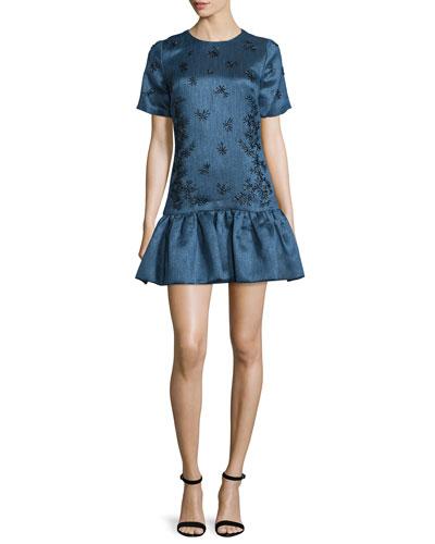 Short-Sleeve Flounce-Hem Dress, Navy/Black