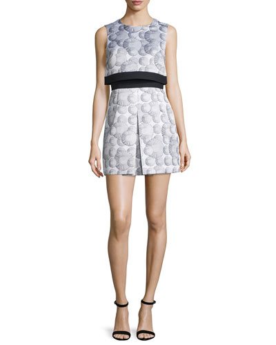 Sleeveless Printed Popover Dress, White