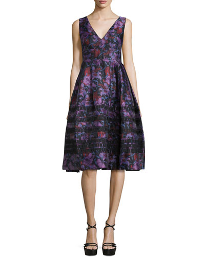 Sleeveless V-Neck Micro-Striped Dress, Black/Multi