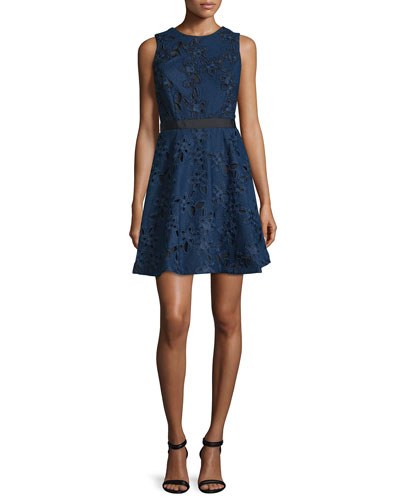 Sleeveless Fit-&-Flare Lace Dress, Navy
