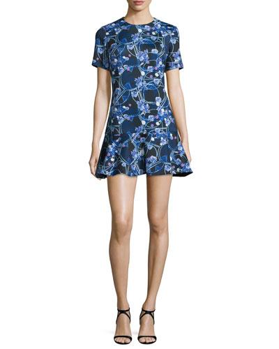 Short-Sleeve Flounce-Hem Dress, Black/Lilac