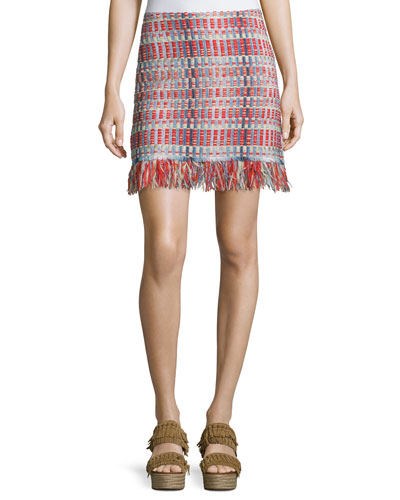 Tara Tweed Skirt with Fringe