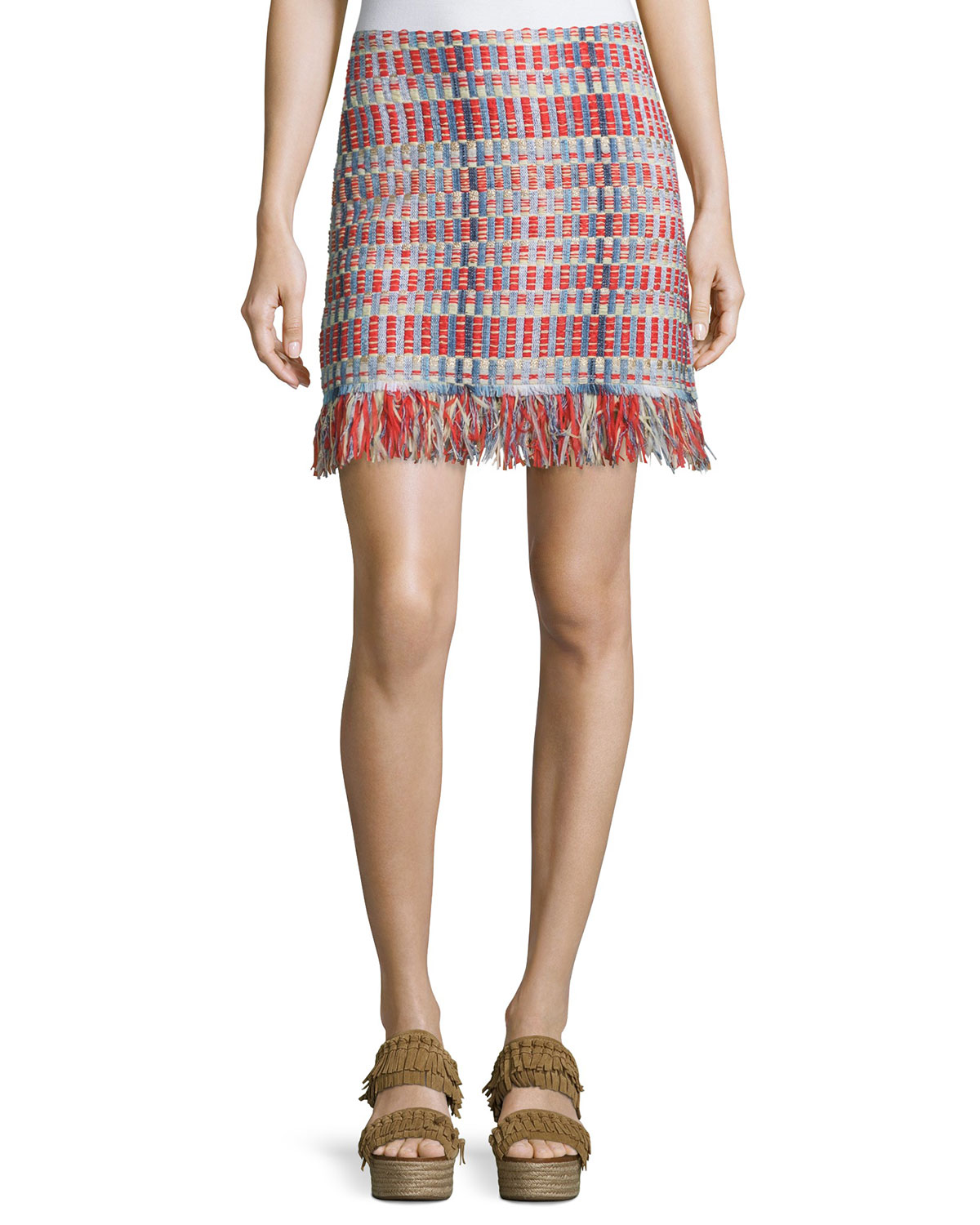 Tara Tweed Skirt with Fringe