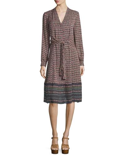 Margaux Printed Long-Sleeve Tie Dress