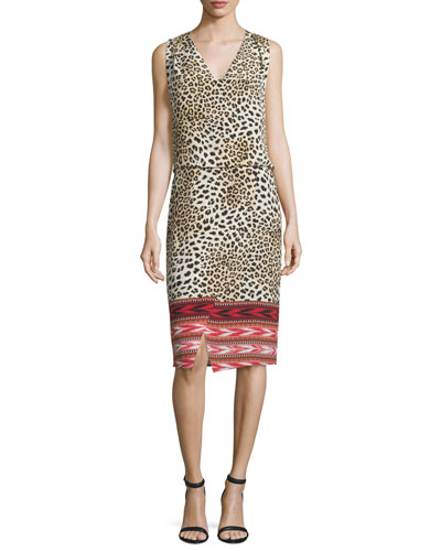 Livia Mixed-Print Sleeveless Silk Dress, Hibiscus/Multi