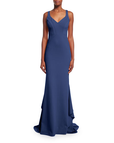 Pamela V-Neck Mermaid Gown, Navy