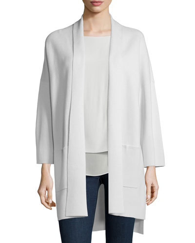 Kimono Silk Cotton Interlock Jacket, Bone