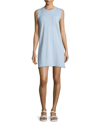 Sleeveless Striped Tank Dress, Powder Blue/White