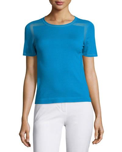Ellison Short-Sleeve Merino Sweater, Voyage