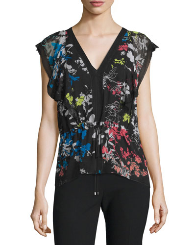 Cece V-Neck Garden-Print Blouse, Multi Colors