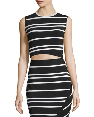 Onissa Sleeveless Bias-Striped Crop Top, Black