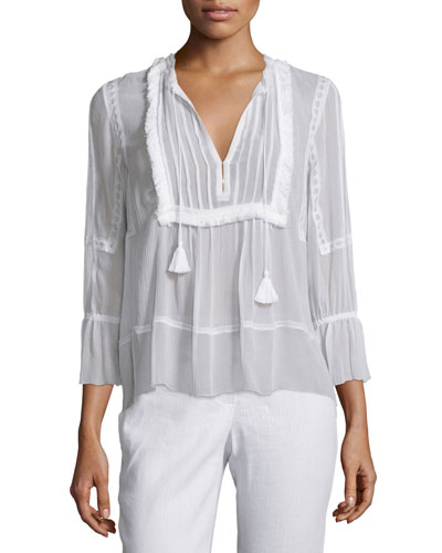 Linzee 3/4-Sleeve Fringe-Trim Blouse, White