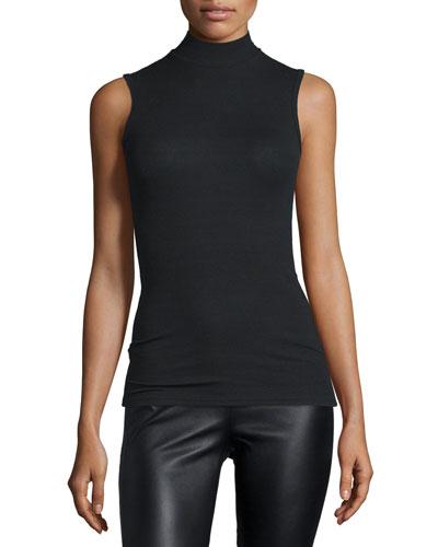 Sleeveless Mock-Neck Stretch Top, Black