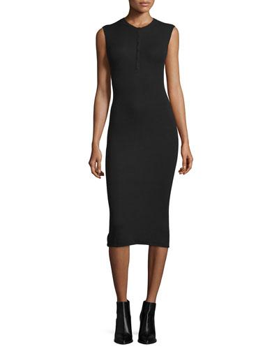 Sleeveless Henley Midi Dress, Black