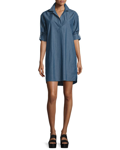 Long-Sleeve Chambray Pullover Shirtdress, Indigo