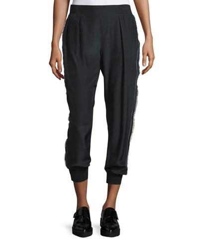 Cropped Silk Fringe-Trim Pants, Black