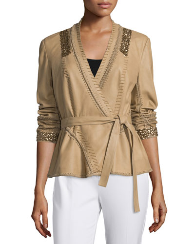 Colette Leather Whipstitch Jacket