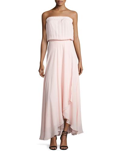 Strapless Blouson Maxi Dress, Peony