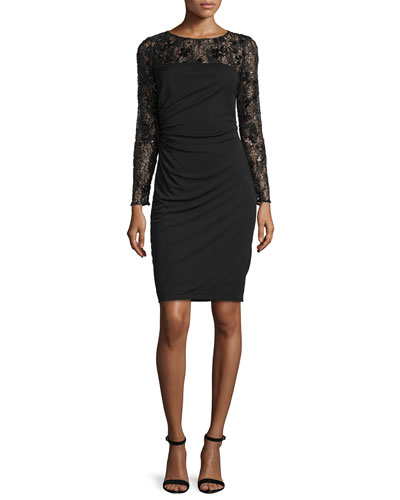 Long-Sleeve Lace Bodice Ruched Cocktail Dress